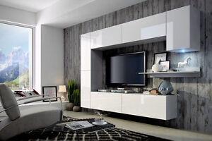 Das Bild Wird Geladen Wohnwand Concept 6 Haengewand Anbauwand Weiss  Hochglanz Schrankwand