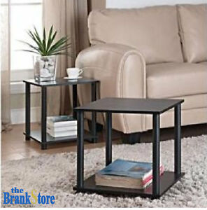 small side table set 2 wood end tables storage shelf fits canvas cube box black ebay. Black Bedroom Furniture Sets. Home Design Ideas