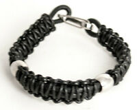 Leather Bracelet With Stainless Steel Links.