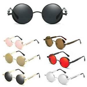 Men-Women-Polarized-Sunglasses-Retro-Round-Mirrored-Metal-Fashion-Eyewear-New