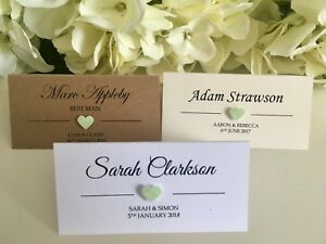 Mint Green Glitter Heart personalised Wedding place cards white Ivory Kraft