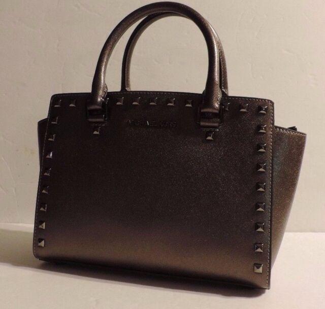 3c83c585cd603 New Michael Kors Selma Stud Top Zip Medium Satchel cinder saffiano leather  bag