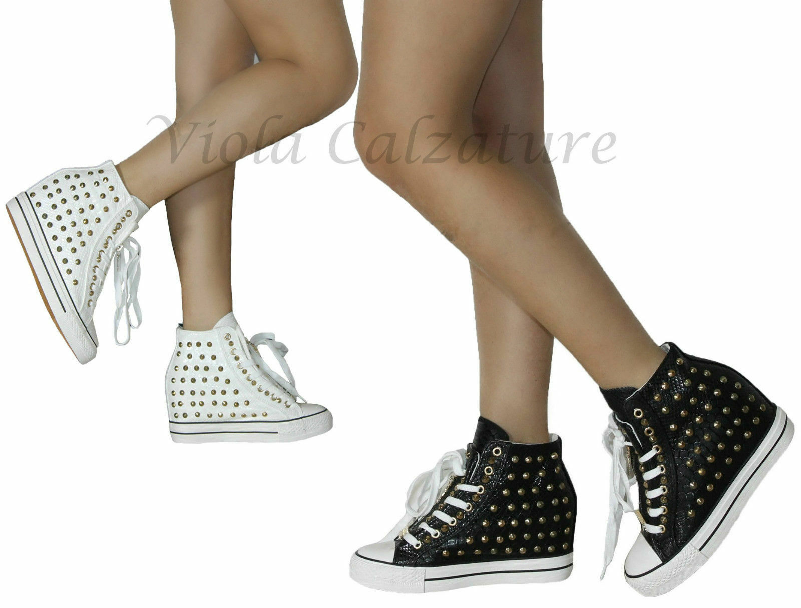 Scarpe Donna Sneakers Borchie Zeppa interna comode n°36 37 38 39 40 41 art 2360