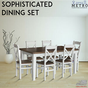 New-Oak-Wood-Top-7PCs-Dining-Set-With-White-wooden-Chairs