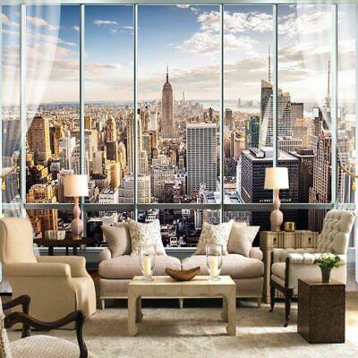 3d New York Skyline Window View Wall Mural Wallpaper Living Room Bedroom Lounge Ebay