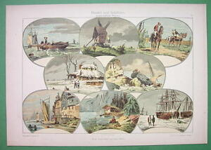 1895 COLOR LITHO PRINT Dekorative Vorbilder - Ships Ice Windmill Marine