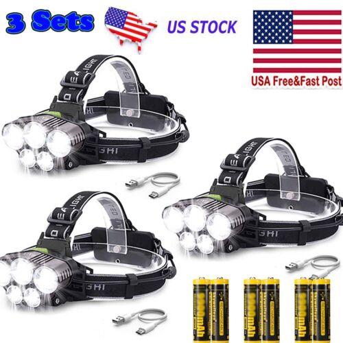 Details about  /6PCS Rechargeable 350000LM  LED Headlamp Super Bright Flashlight Headlight