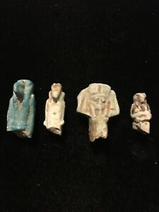 Four-4-Ancient-Egyptian-Pottery-Carvings-Figures-amp-Amulets-3000-BC-antique