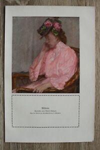 Kunstdruck-1-Blatt-1908-09-Bildnis-nach-Gemaelde-von-Adolf-Muenzer-Frau-Mode-Hut