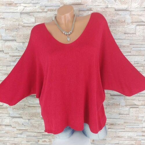 MADE in Italy finemente lavorato a maglia shirt Pullover Pipistrello-Maniche Scuro-Rosso 36-44