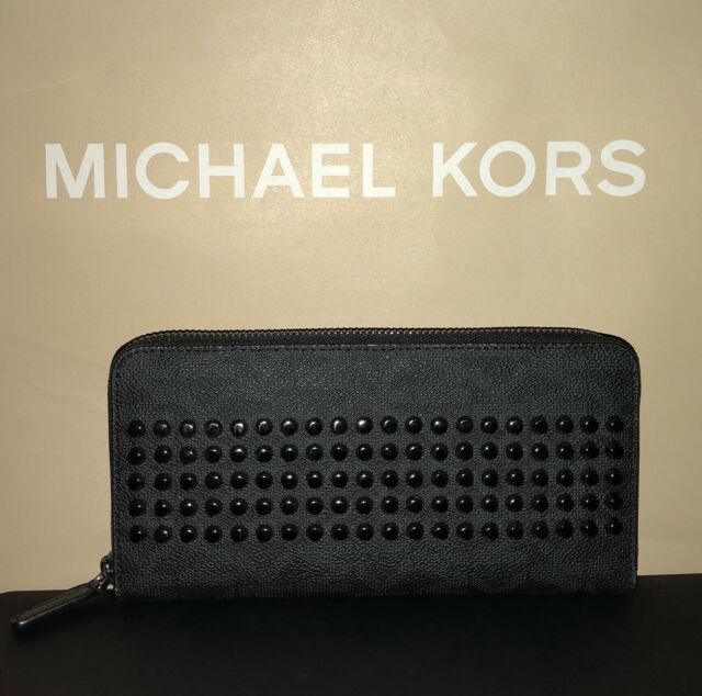 6ae0590c9b13 Michael Kors Jet Set Mens Black Monogram Tech Zip Around Long Wallet NWT