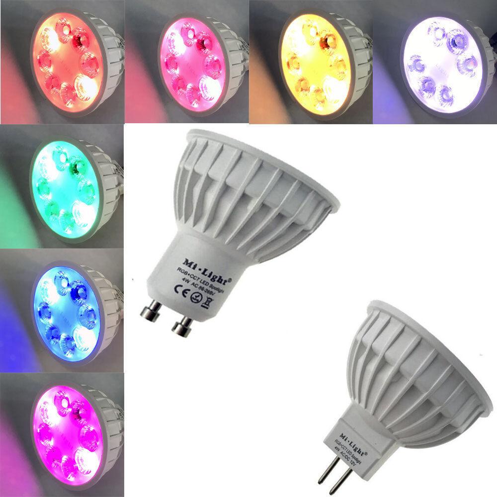 10 pcs Mi Light RGB+CCT LED Smart Spotlight 4W RGBW  RGBWW GU10 86-265V MR16 12V