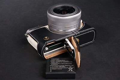 Genuine Real Leather Half Camera Case Bag for Panasonic GM1 GM1S Black OPEN