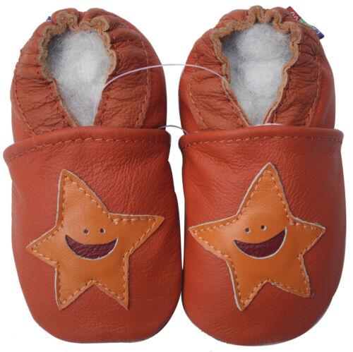 carozoo starfish orange 4-5y soft sole leather kid shoes