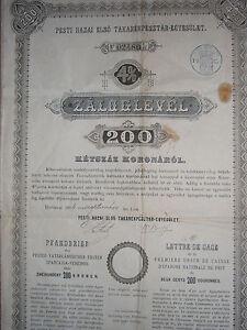 100% Wahr 4% Pfandbrief Pester Vaterl. 1. Spkverein 200 Kronen 1894 - Rar