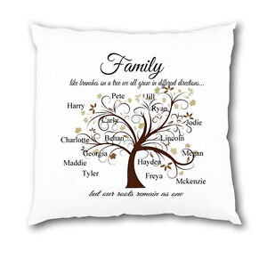 Personalised Family Tree Cushion Cover Children Home Love