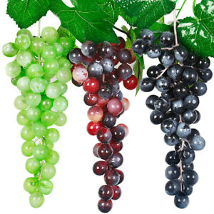 Am-1-Bunch-Fake-Grape-Artificial-Plastic-Lifelike-Faux-Fruit-Home-Wall-Decor-My
