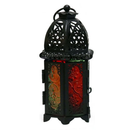 Metal Glass Candle Lanterns Tealight Holders Vintage Moroccan Style 17cm