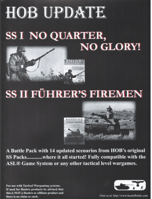 ASL Advanced Squad Leader HOB SS Update Scenario Pack [2006] + Bonus BattleDice!