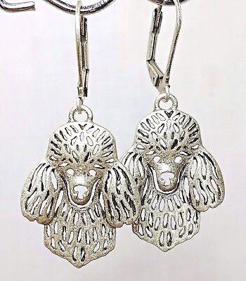 Poodle Dog Puppy Earrings Gold Alloy Leverback Drop Earrings Jewelry