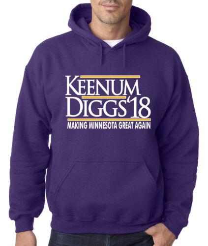 """Stefon Diggs Case Keenum Minnesota Vikings /""""Diggs Keenum 18/"""" Hoodie SWEATSHIRT"""