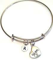 Personalized Mom Bangle Bracelet - Choose An Initial, Mother Jewelry, Mom Gift