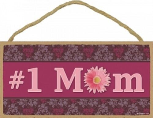 """#1 MOM SIMPLE SIGN with Pretty flowers GREAT GIFT Mothers Day Wood 10/""""x5/"""" 603"""