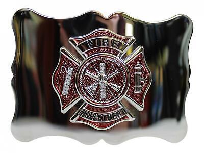 Brushed Antique US Fire Department Scalloped Kilt Belt Buckle