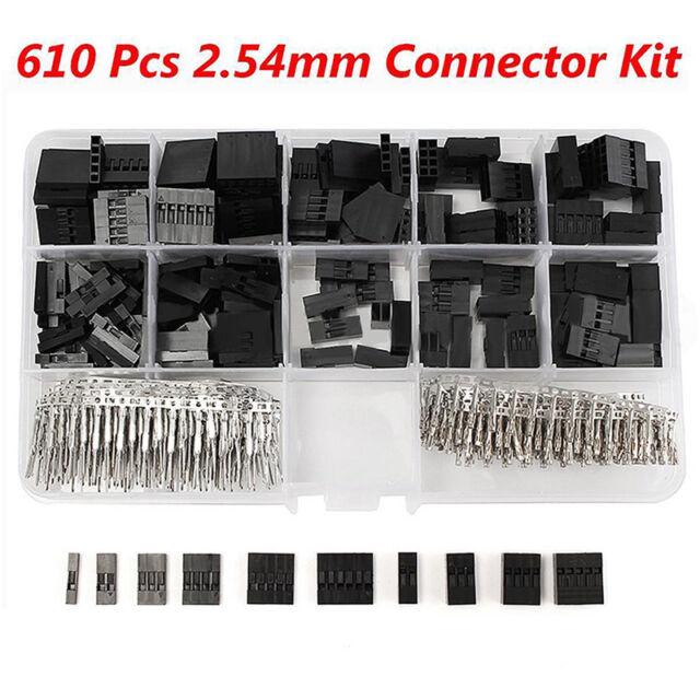 610Pcs/Set Dupont Crimp Pin Connector Header Jumper Wire Terminal Housing Crimp