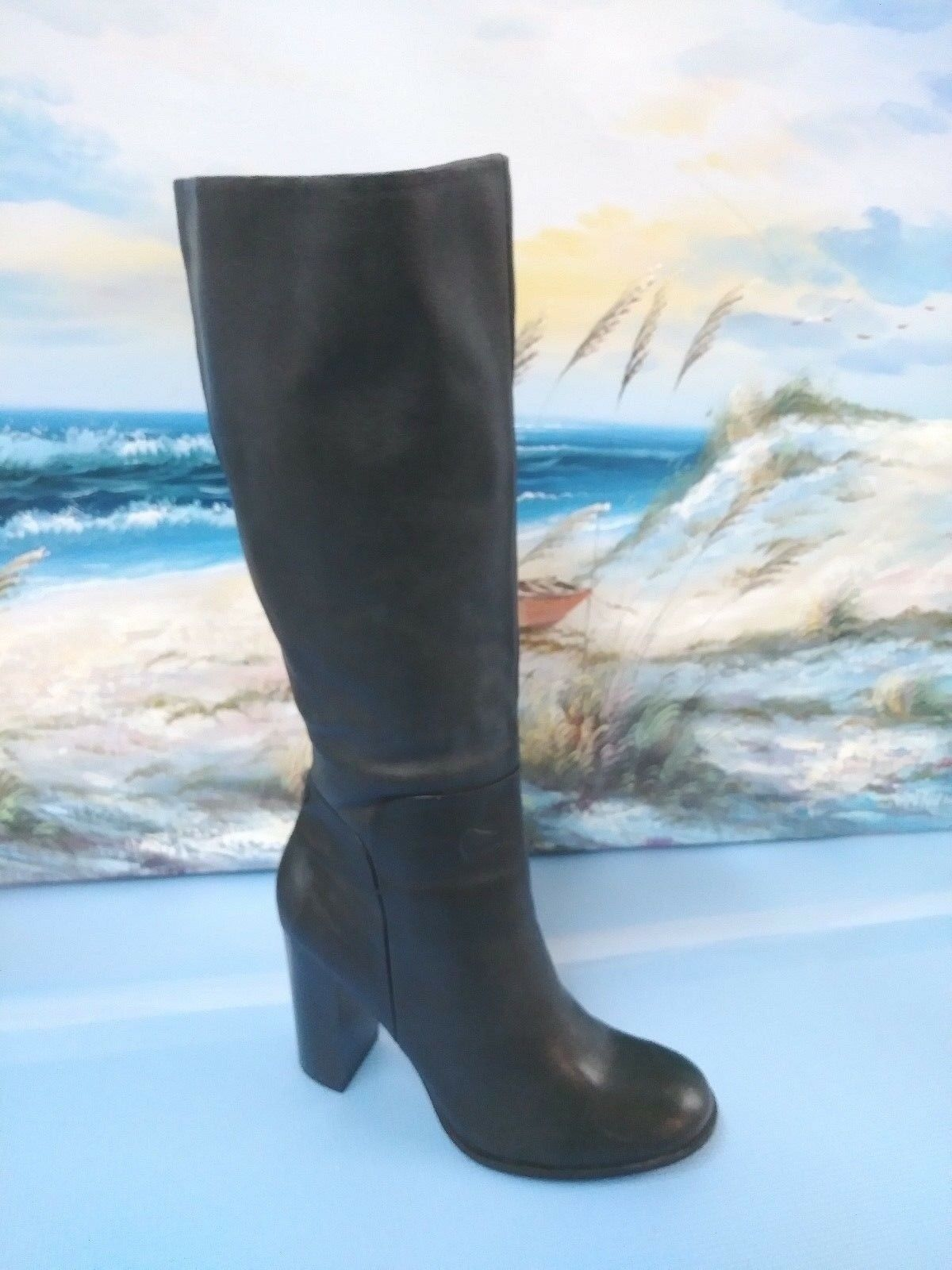 Liz & Co Black Leather Zip Side Knee High Block Fashion Boots Womens Size 9.5 M