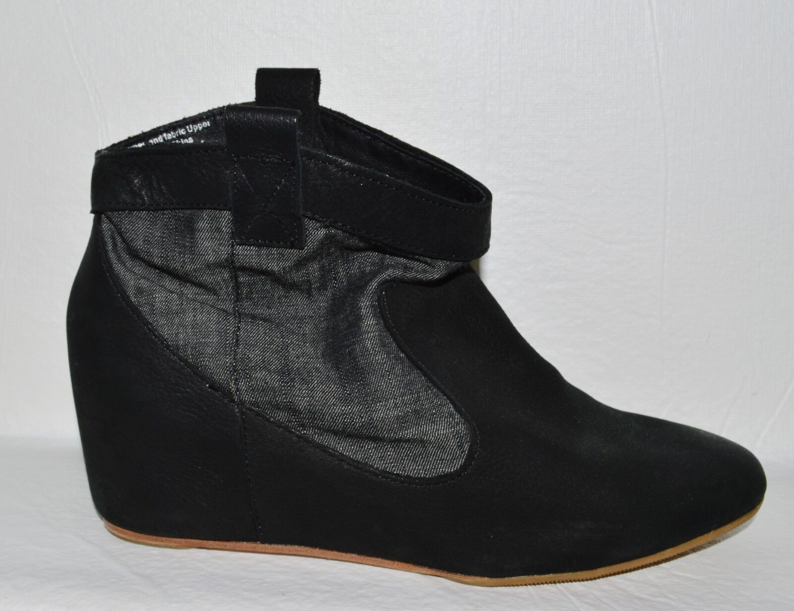 80  SZ 6 M BLACK LEATHER JEANS ANKLE BOOTS COVERED WEDGE HEEL BOOTIES