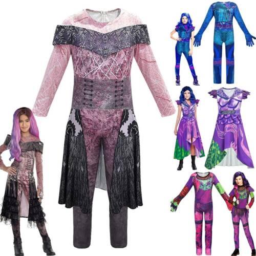 Girls Descendants 3 Audrey Mal Costume Carnival Cosplay Fancy Dress Up Jumpsuit