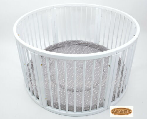 VERY LARGE ALANEL Wooden Playpen with Playmat Play pen Laufgitter WHITE  BRAUN