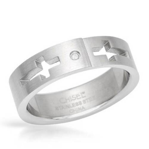 Men's Cross Ring by Chisel With Genuine Diamond in Stainless Steel Size 11