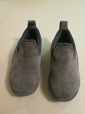 NEW BOYS GIRLS KIDS LANDS END ALL WEATHER GREY SLIP ON SUEDE LEATHER SHOES