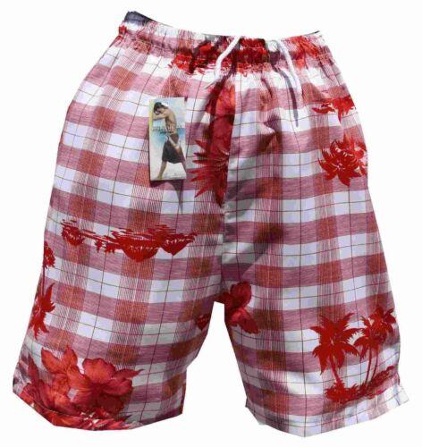 Pantaloncini da Bagno Bermuda Costume Bagno Slip a quadri 908 in rosso in S M L XL XXL