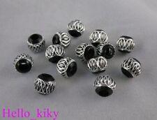 100Pcs Black/Silver carved lantern Aluminium beads M571
