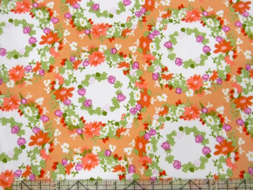 Michael Miller Strawberry Moon Clover Crown Florals Wreath Peach Fabric BHY