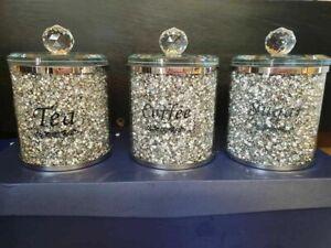 Diamond Crushed Silver Crystal Filled Tea Coffee Sugar Canisters Jars Storage