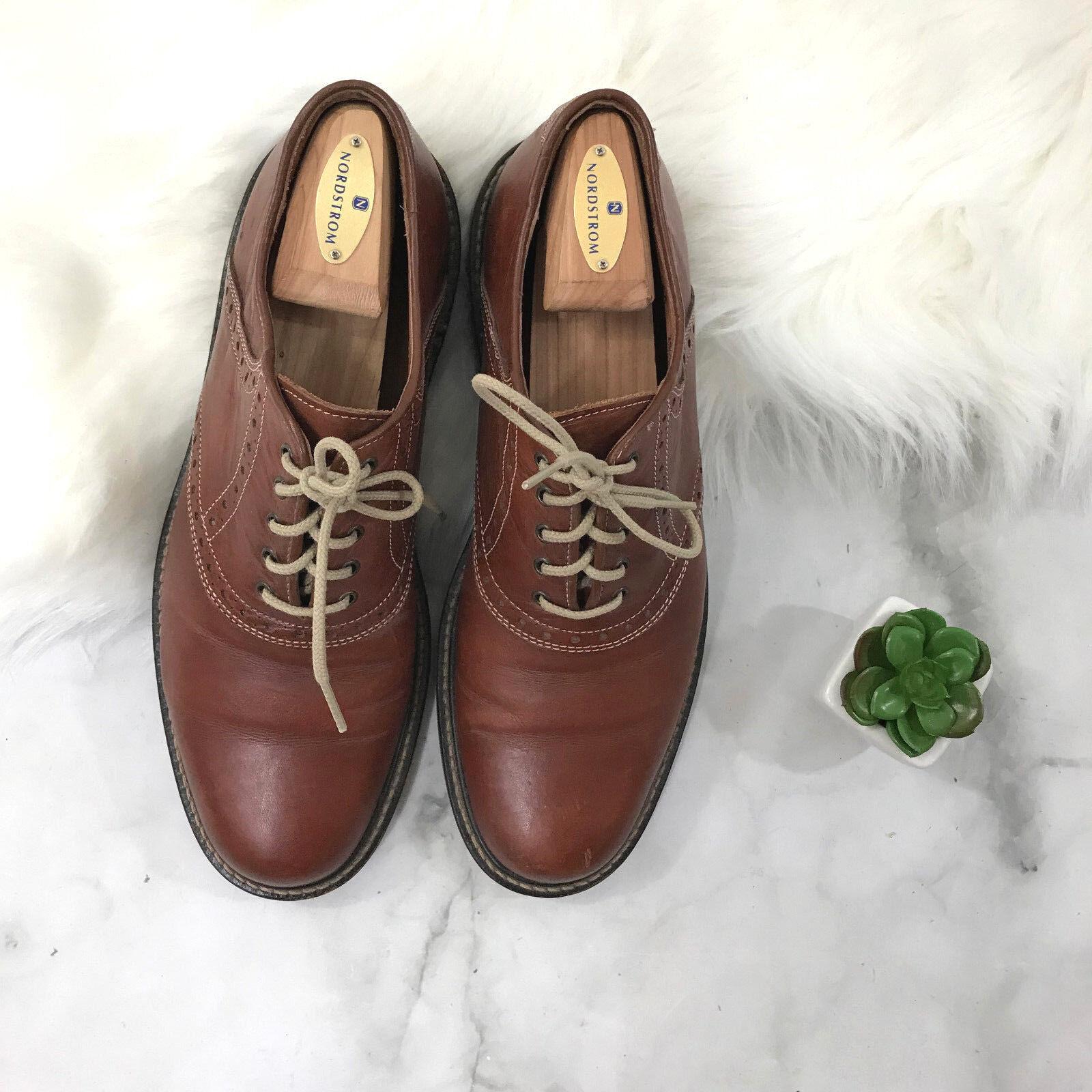 Men's Chestnut Brown Johnston & Murphy Derby Oxford shoes Office Work shoes Sz. 9