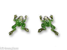 Zarah Zarlite FROG Post EARRINGS Sterling Silver Plated Stud - Gift Wrapped Box