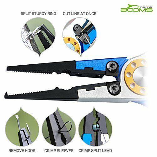 Aluminum Fishing Pliers Hook Remover Braid Line Cutting /& Split Ring w// Lanyard