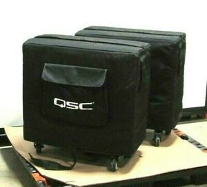 QSC-KSUB-1KW-Active-Subwoofer-With-Covers-Pair-Good-Working