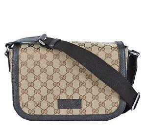 Image is loading New-Authentic-Gucci-Brown-GG-Canvas-Medium-Messenger- ab6bac1c7cb