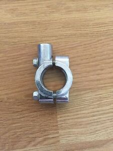 Motorcycle-Handlebar-Mirror-Adaptor-Clamp-on-Silver-Bracket-10mm-Thread-22mm-Bar