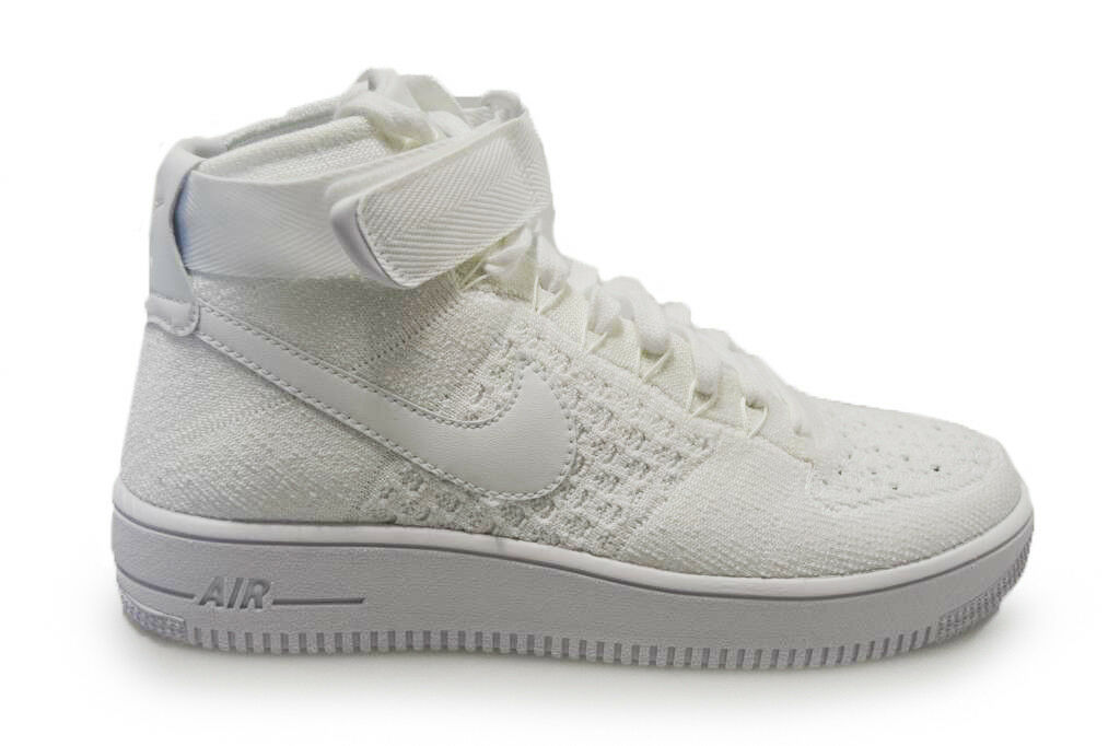 Mens Nike Air Force 1 Ultra Flyknit MID - 817420 102 - Triple WEISS Trainers