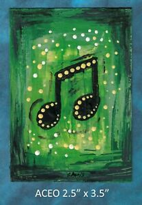 Original-ACEO-Abstract-Musical-Note-miniature-acrylic-painting-not-framed
