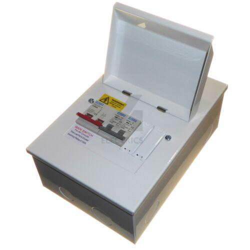 MCB Choice Metal Consumer Unit 100 Amp Isolator 4 Way House Garage Shed