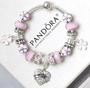 Authentic Pandora Bracelet Silver Mom Pink Mother Day With European Charms New Ebay