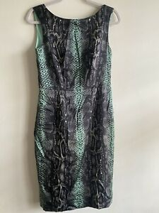 Twiggy for M&S | Size 12 | Snake Skin Pattern Green Sheath Sleeveless Dress